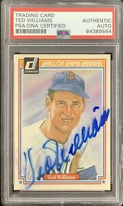 Ted Williams Signed 1984 Donruss HOF Heroes #9 Baseball Card RedSox Auto PSA/DNA