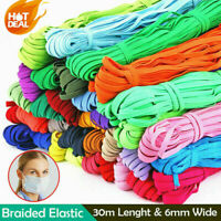 1/4 inch 6mm Elastic Band Sewing 33 Yards Length DIY Elastic Cord Color 32M