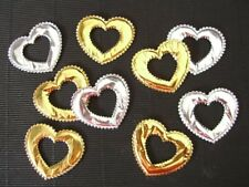 50 GOLD & SILVER LOVE HEARTS FH4GS Wedding Cards Table Scatters Scrapbooks