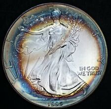 1995 1 oz Silver American Eagle BU Rainbow Toned