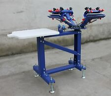 Vertical Type 4 Color 1 Station Screen Printing Press Adjustable Shirt Printer