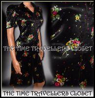 Kate Moss Topshop Black Silky Floral Zip 1940s 1950s Vintage Tea Dress UK 6 8 10
