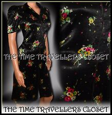 Kate Moss Topshop Black Silky Floral Zip 1940s 1950s Vintage Tea Dress UK 8 10