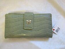 Mundi croc green checkbook clutch wallet butterfly closure NWT NEW
