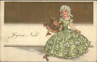 Christmas - Vistorian Little Girl Green Dress Powdered Wig Postcard