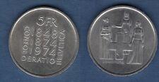 Suisse – 5 Francs 1974 Révision de la Constitution – Switzerland Swiss