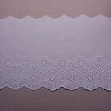 Embroidered Cotton Eyelet Lace Trim  White Lovely 8 inch(20cm) Wide 1Yard