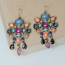 Rings`Ears Golden Candlestick Multicolored Blue Coral Ethnic Retro BB 13