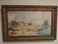 Vintage French Provence Watercolor Seaside Painting Boats c.1940 Gilt Frame Sign