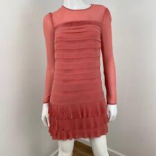 Ted Baker Long Sleeve Pleated Ruffle Hem Mini Tunic Dress Size 0