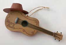 "Happy Trails Cowboy Guitar Christmas Ornament Western Hat Southwest 6.25"""