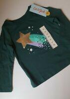 New Toddler Girls Jade Green Shooting Star Long Sleeve Shirt By Cat & Jack