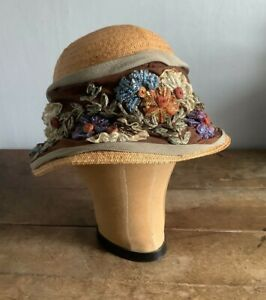 Antique Edwardian 1910 Floral Straw Women's Hat