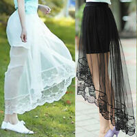 Women Gauze See-Through Mesh Tulle Lace Floral Bodycon Long Maxi Skirt Dress