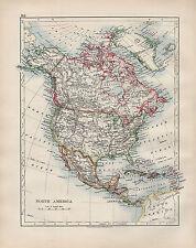1904 ANTIQUE MAP ~ NORTH AMERICA ~ UNITED STATES DOMINION OF CANADA MEXICO CUBA