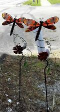 """New listing Rain Gauge Dragonfly Brown Green New metal with tube measures 7"""" - 17.5 cm 43"""""""