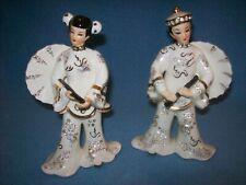 "Vtg Lefton's Japan Oriental Man Woman 7"" Figurines Gold-White-Rhinestones #10245"