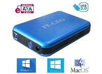"""IT735 USB 3.0 External Hard Drive Enclosure for 3.5"""" SATA HDD w/ USB3 Lead Blue"""