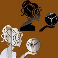 Adesivo sticker parete specchio orologio DONNA mano idea regalo muro romantico