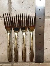 """Set Of 4 Matching Dirilyte Gold Toned 6 1/2"""" Tall Salad Forks"""