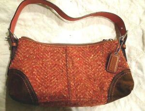Coach Salmon Wool Tweed & Brown Leather Hampton Herringbone Small Handbag