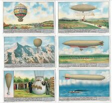LIEBIG TRADE CARD SET CONQUESTS OF THE AIR ( FRENCH ) SET OF 6
