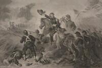 Antique US Civil War Gen Lyons Battle at Wilsons Creek Engraving 1863 Original