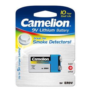 4x Camelion Litio 9V Volt Blocco E Batteria Rivelatore di Fumo Fino 10 Anni ER9V
