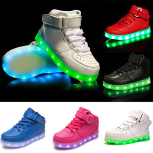 Boys Girls High-top  Led Light Up Shoes Luminous Flashing Trainers Sneakers