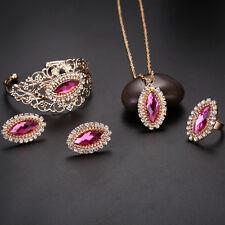 Elegant Women Bridal Jewelry Set Crystal Zircon Necklace Earrings Bracelet Rings
