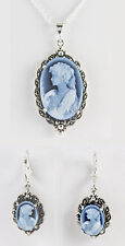 "Black Agate Cameo 25X18 mm Necklace & 14X10 mm Earring Set 18"" Chain Sterling"
