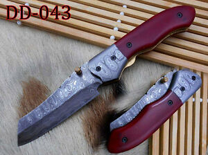 """7.8"""" Tanto blade folding knife, Hand forged Damascus steel, Cow Leather sheath"""
