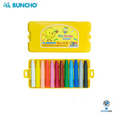 Buncho Yellow Chick Non-Smudge Crayon 12 Assorted Colours | Kids Stationery