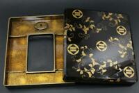 WBX25 Japanese Black lacquer gold arabesque pattern makie wooden inkstone box