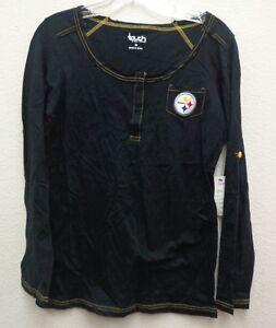 Pittsburgh Steelers Womens Medium Touch Alyssa Milano Sideline Henley 014