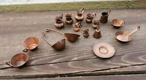 VTG SET OF 16 HAMMERED COPPER DOLLHOUSE MINIATURES COOKWARE HOME DECOR MEXICO