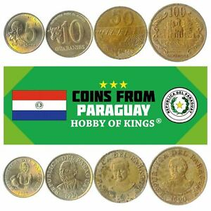 4 COINS FROM PARAGUAY. FOREIGN CURRENCY: 5, 10, 50, 100 GUARANIES 1990-1992