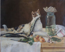 "French Oil painting on canvas signed by Raphael OLARIA ""Young cat : Sweetmeat"""