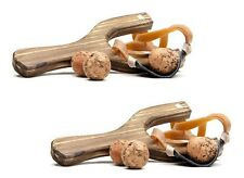 Wooden Pine Wood Old Style Slingshot with Black Pouch Set of 2