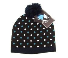 Knitted Spotted Bobble Hat Polka Dot Beanie Brown or Blue Cosy Warm Pom Pom