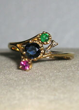 SOLID 14K Gold   RUBY  SAPPHIRE  EMERALD  Diamond  Ring