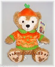 "New Disney Halloween Mickey Duffy Bear Pumpkin 12"" Plush Doll Jack O Lantern"