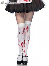 White bloody zombie thigh high blood Halloween costume stockings 6675 Leg Avenue