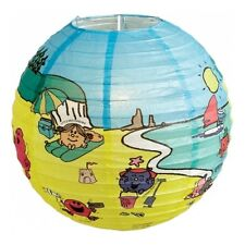 """14"""" PAPER LANTERN BLUE/YELLOW WITH MR MEN & LITTLE MISS CHARACTERS (BEACH)"""