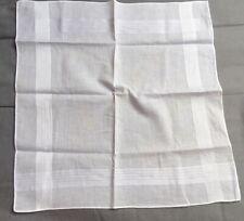 Mens Cotton Pocket Square White on white Stripe Edge Handkerchief