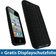 Schwarz Reifenprofil Silikon für Apple iPod Touch 4G 4te Gen Hülle Tasche Skin