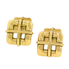 Yellow Gold Square Men's Bar Cufflinks Tiffany & Co. Italy Biscayne 18K