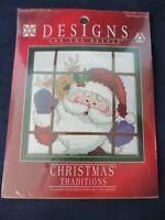 "Santa Peeking Christmas Cross Stitch 6"" Sampler New Designs for the Needle 1894"