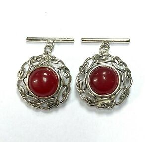 Celtic Style Red Agate Love Knot Cufflinks 925 Sterling Silver Mens Gift