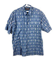Tori Richard Hawaiian Button Up Shirt Short Sleeve Floral Aloha Mens XL Blue